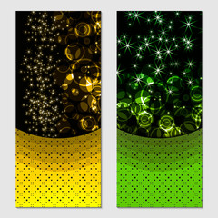 Vertical gift multicolored festive design background with glitter for invitation, voucher. For a banner, postcards. flyer, label, certificate, company card. Vector.