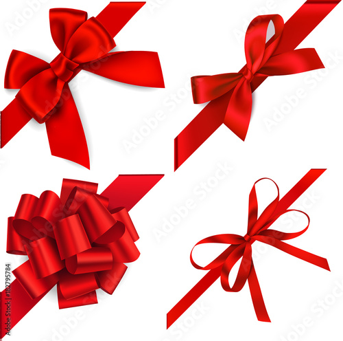 Vászonkép Vector set of red bow with diagonaly ribbon on the corner for gift decor