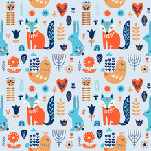 Nordic Ornaments, Folk Art Seamless Pattern. Scandinavian Style. Forest Animal And Flower. Vector Illustration.