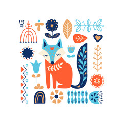 Panel Szklany Skandynawski Nordic ornaments, folk art pattern. Scandinavian style. Fox and forest flowers. Vector illustration.