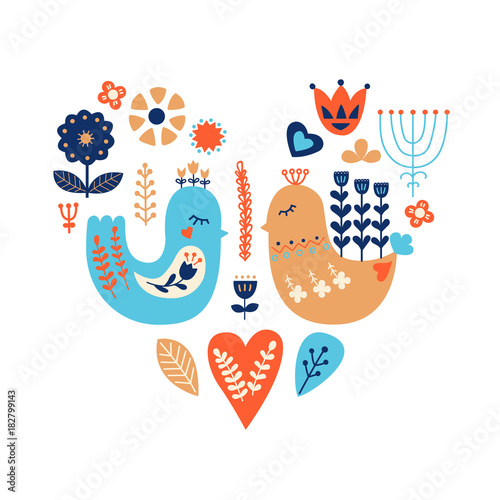 Nordic ornaments, folk art pattern. Scandinavian style. Two birds and forest flowers. Vector illustration.