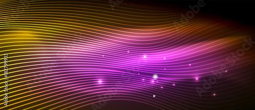Obraz Glowing abstract wave on dark, shiny motion - fototapety do salonu