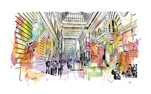 """Watercolor Splash With Hand Drawn Sketch Of The Metropolitan Museum Of Art, Colloquially """"the Met,"""" Is Located In New York City In Vector Illustration."""