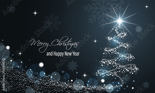 Canvas Christmas and New Year glowing blue vector banner with snow wave, glitter, stars, snowflakes and christmas tree