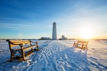 Beautiful Gardur Lighthouse In Iceland