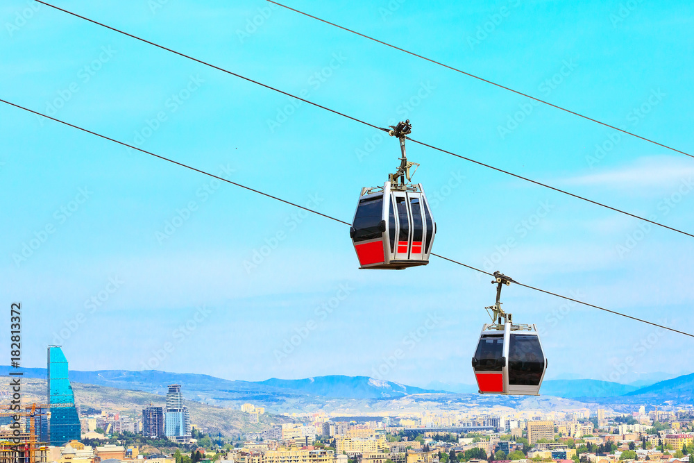 Fototapety, obrazy: Tbilisi, Georgia funicular cabins and aerial city skyline panoramic view