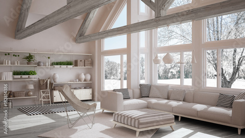 Fototapeta Living room of luxury eco house, parquet floor and wooden roof trusses, panoramic window on winter meadow, modern white interior design obraz na płótnie