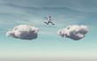 Leinwandbild Motiv Businessman jumps on a cloud