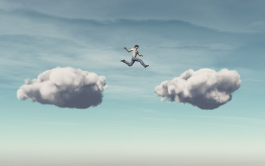 Businessman jumps on a cloud