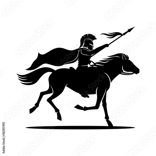 Canvas Print Warrior on horseback.