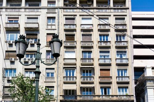 Plakat nowoczesne budynki w Atenach, Grecja