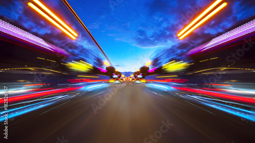 fototapeta na ścianę Abstract background of high speed moving in night city