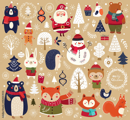 Valokuva  Christmas collection with cute animals, snowman and Santa