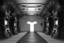 Dunkles Futuristisches Raumschiff Interieur