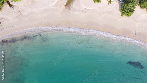 Aerial overhead view of beautiful beach