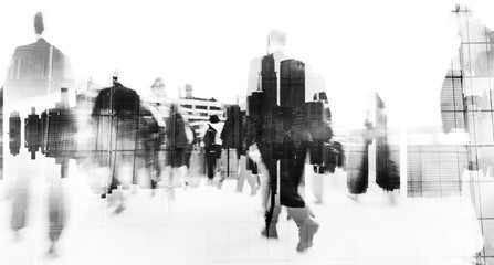 Blurred scene of crowded people are walking in rush