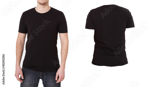 Blank Tshirt Template | Macro Shirt Template Black Blank Shirts Front Back View Isolated