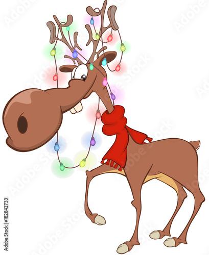 Papiers peints Chambre bébé Illustration of Christmas DeerCartoon Character