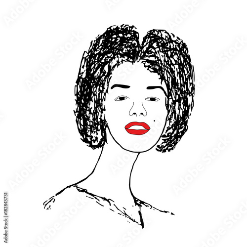 Photo  beautiful woman with red lips. vector illustration ai10
