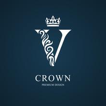 Elegant Letter V. Graceful Royal Style. Calligraphic Beautiful Logo. Vintage Drawn Emblem For Book Design, Brand Name, Business Card, Restaurant, Boutique, Hotel. Vector Illustration
