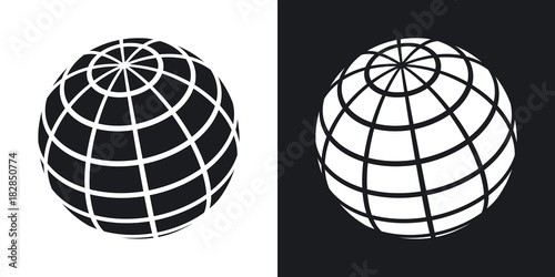 Fototapeta Vector globe icon. Two-tone version on black and white background obraz