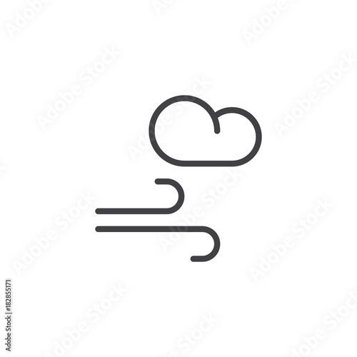 Wind And Cloud Line Icon Outline Vector Sign Linear Style