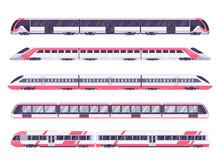 Set Of Passenger Train. Subway...