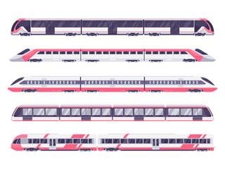 Komplet putničkog vlaka. Podzemni vlak podzemne željeznice. Vektorska ilustracija metro vlaka