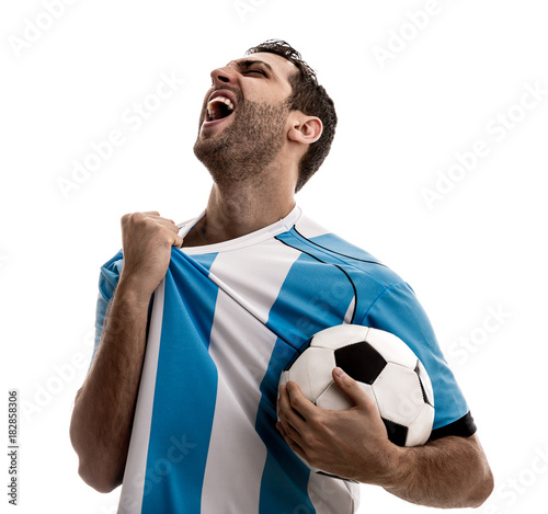 Fotografie, Tablou  Argentina fan celebrating on white background