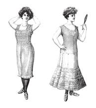 Elegant Woman Old Fashion Unde...