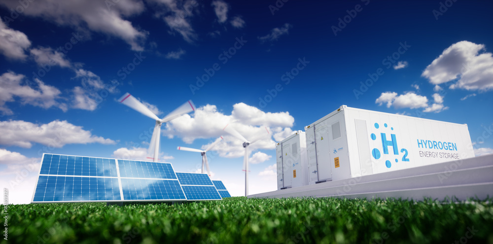 Fototapety, obrazy: Ecology energy solution. Power to gas concept. Hydrogen energy storage with renewable energy sources - photovoltaic and wind turbine power plant in a fresh nature. 3d rendering.