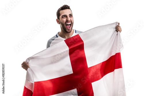 Fototapeta  English fan celebrating on white background