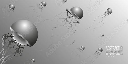 Fotografia, Obraz  Mechanical jellyfish artificial intelligence for backgrounds, vector screensaver