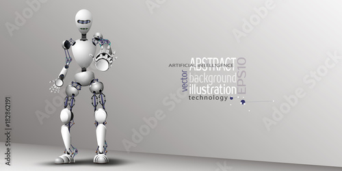 Fotografie, Obraz  Robot Artificial Intelligence White for background, vector clipart