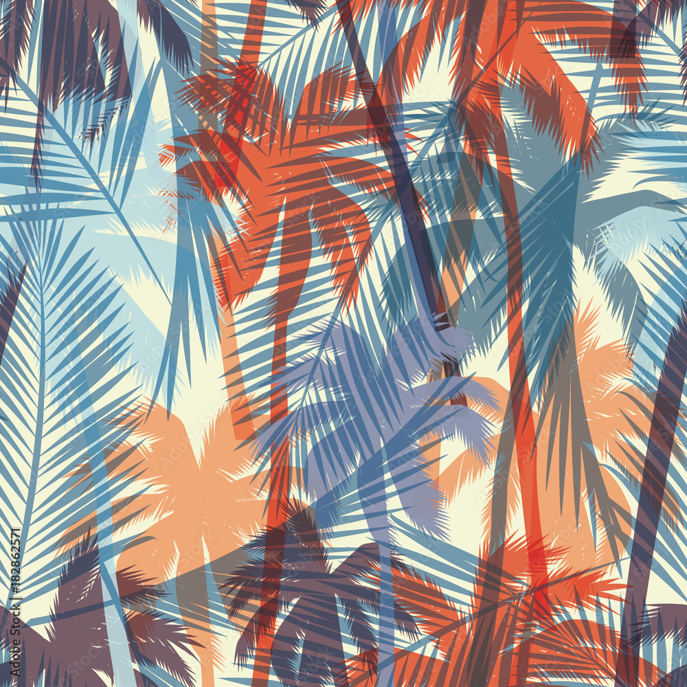 Fototapeta Seamless exotic pattern with palm leaves.