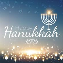 Happy Hanukkah Shining Background With Menorah, David Star And Bokeh Effect. Vector Illustration