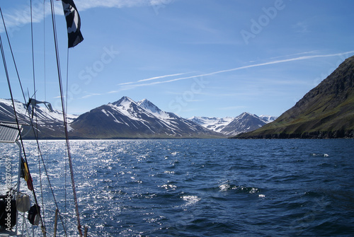 Wall Murals Arctic Iceland: sailing along the snow coast