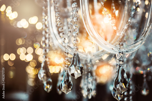 Fotomural Chrystal chandelier close-up. Glamour background with copy space