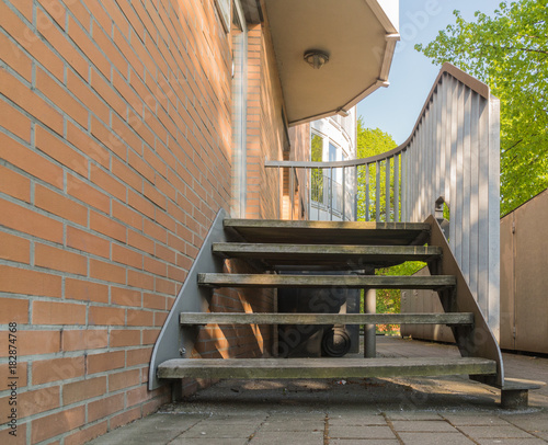 Aussentreppe Aus Metall Und Holz Buy This Stock Photo And Explore