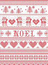 Seamless Noel Scandinavian Fabric Style, Inspired By Norwegian Christmas, Festive Winter Pattern In Cross Stitch With Reindeer, Christmas Tree, Heart, Snowflakes, Snow, Decorative Ornaments, Red