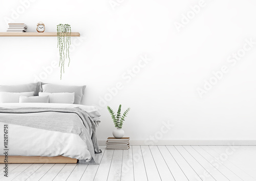 Home Interior Wall Mock Up With Unmade Bed Plaid Cushions And Plant