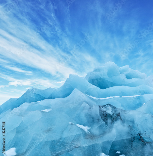 Glaciers Top of glacier floes with sunny sky, Iceland