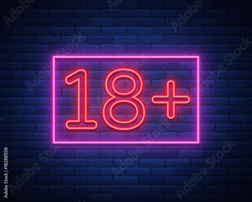 Eighteen plus, age limit, sign in neon style Wallpaper Mural