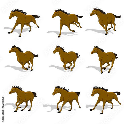 Horse running, silhouette, racecourse, competition, sprite sheets ...