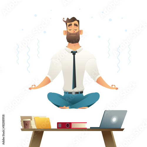 Businessman Meditates And Hovers Over Workplace Concept Of Meditation Yoga Pose Cartoon Style Vector Illustration Buy This Stock Vector And Explore Similar Vectors At Adobe Stock Adobe Stock