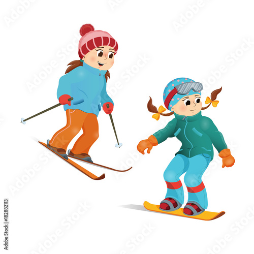 Two Girls In Warm Clothes Snowboarding And Skiing Winter Sport Activity Cartoon Vector Illustration Isolated On White Background Happy Girl Friends Snowboard And Ski Winter Vacation Activity Buy This Stock Vector