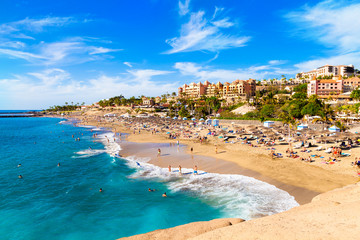 El Duque beach in Tenerife, famous Adeje coast on Canary island in summertime Spain