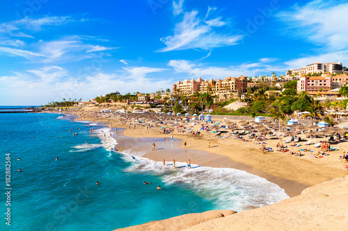 Canvas Prints Canary Islands Summer holiday on El Duque beach in Tenerife, famous Adeje coast on Canary island, Spain