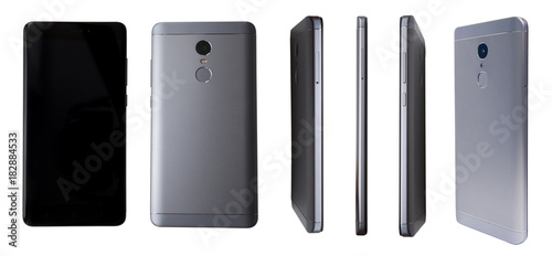 Fototapeta Different view of modern smartphone isolated on white background. Front back perspective view of new mobile phone. Different sides of smartphone obraz