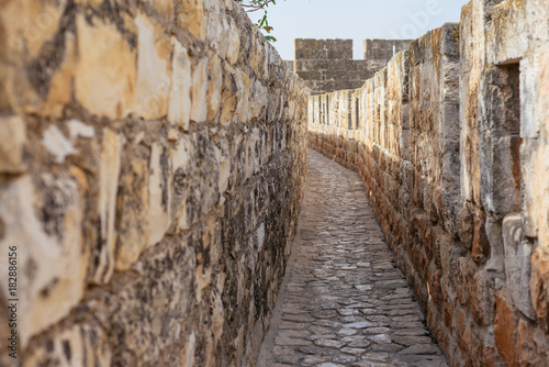 The walls surrounding the Old City of Jerusalem, ramparts walk along the top of the stone walls